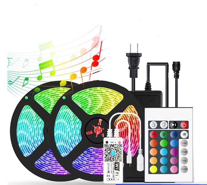 5050 RGB led strip lights low voltage neon sign flexible light strip colorful alexa waterproof 24 and 44 key remote control 1 1 controller