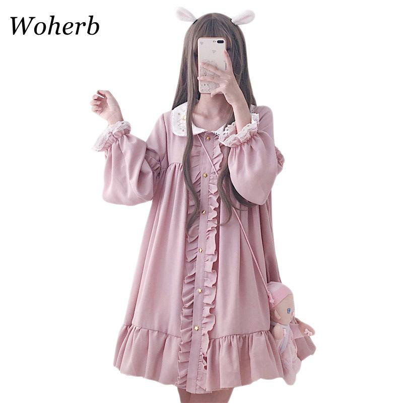 Woherb 2020 Yaz Elbise Kadın Harajuku Pembe Bayanlar Fırfır Dantel Yama Kawaii Elbiseler Lolita Cosplay Tatlı Gevşek Vestidos 21092 x 1224