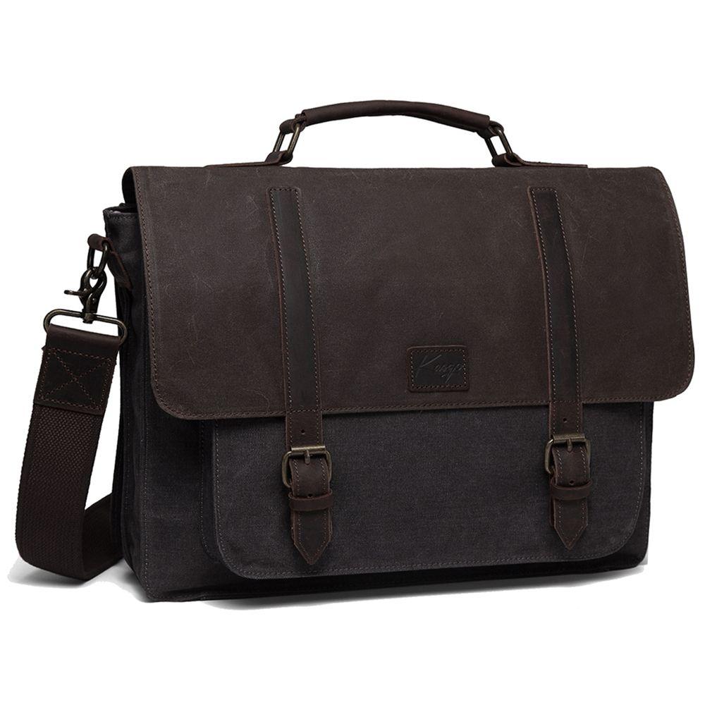 Messenger Vintage Water Resistant Briefcase Waxed Canvas Shoulder 15.6 Inch Laptop Bag for Men Women Q0112