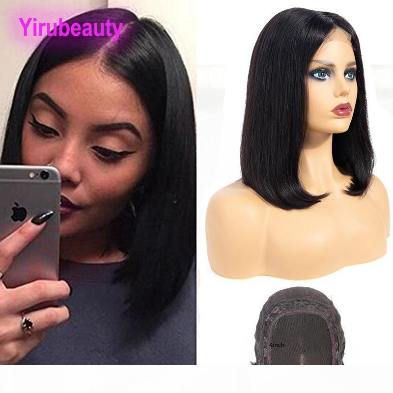Cabello virgen brasileño 4 * 4 peluca de encaje pelucas de bob recta banda ajustable 10-18 pulgadas 4 * 4 Peluca delantera de encaje Color natural