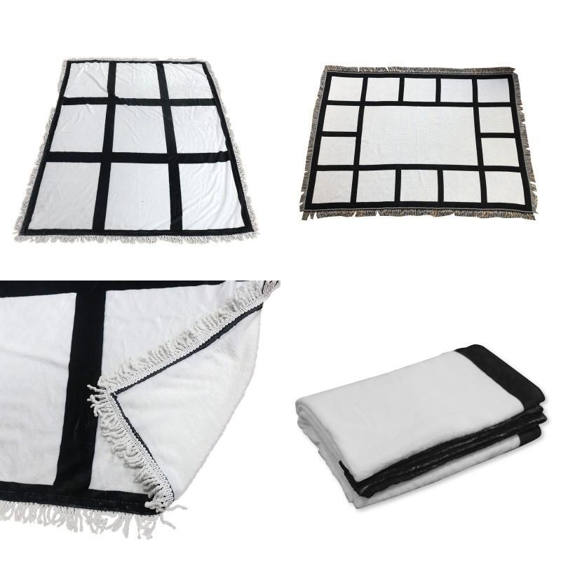 التسامي البطانيات DIY فارغة 125 * 150 سنتيمتر الطباعة أبيض مدقق البساط 9 و 16 لوحات أريكة دافئة بطانية شرابات الفانيلا 47JM G2