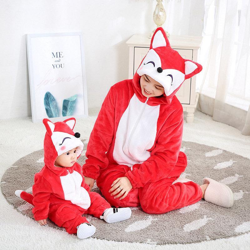 Saileroad الأسرة منامة مطابقة ملابس لأمي والطفل الكرتون فوكس الفانيلا kigurumi أطفال عيد الميلاد منامة للعائلات مجموعات F1221