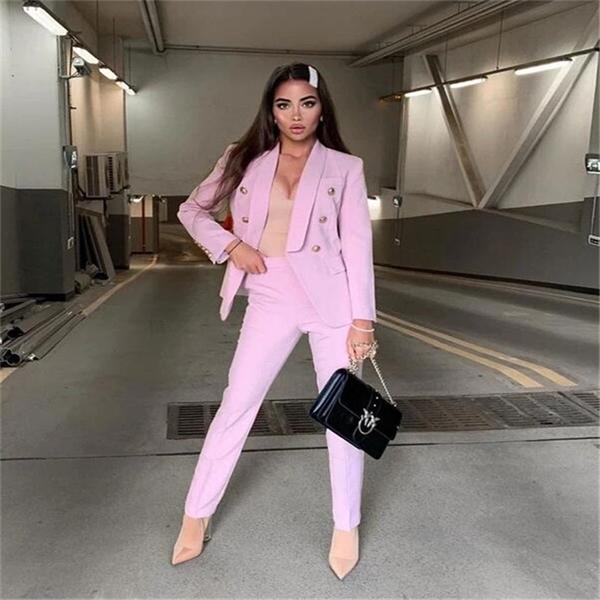 Pink Shawl Women Blazer Trajes Chaqueta Fashion Ladies Pantalones trajes Trajes para mujer Blazer con pantalones para el novio de fiesta Hecho a medida q1214