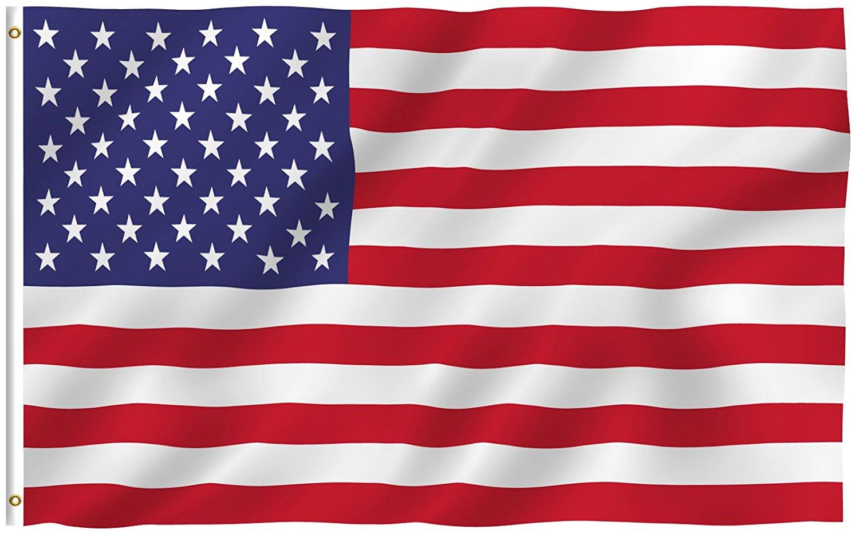 3x5 Fuß American US-Flagge - lebendige Farbe und UV-Fade-resistent - 100% Polyester (doppelseitig) USA Nationalflaggen mit Messing-Tüllen DHA2708