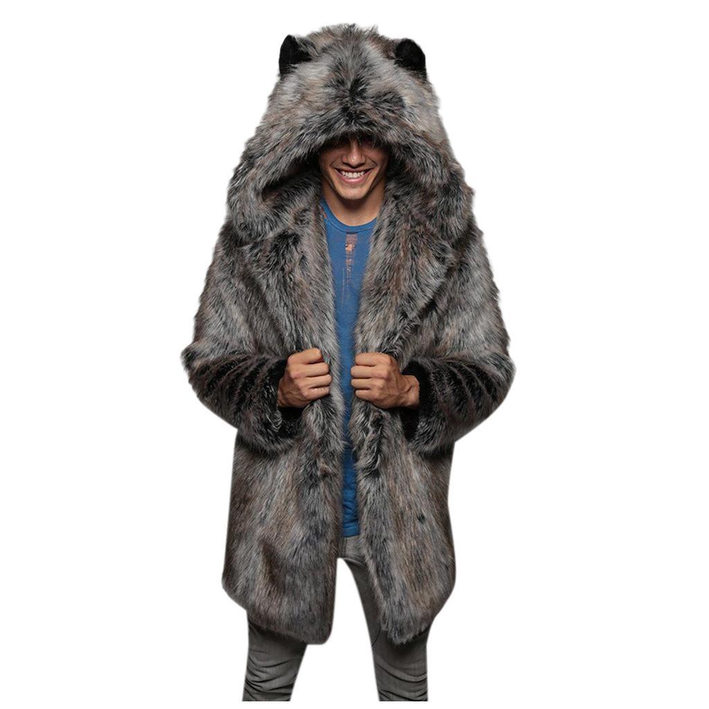 Kış Sonbahar 2020 Yeni Faux Vizon Kürk erkek Giyim Mont Artı Boyutu 4XL 5XL Sıcak Açık Giymek Uzun Tasarım Erkek Giyim Kızak Ile