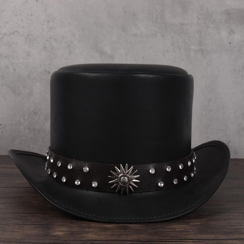 Mujeres hombres cuero top sombrero presidente tradicional fedoras sombrero mago steampunk cosplay party gaps dropshiping 3size 13cm top