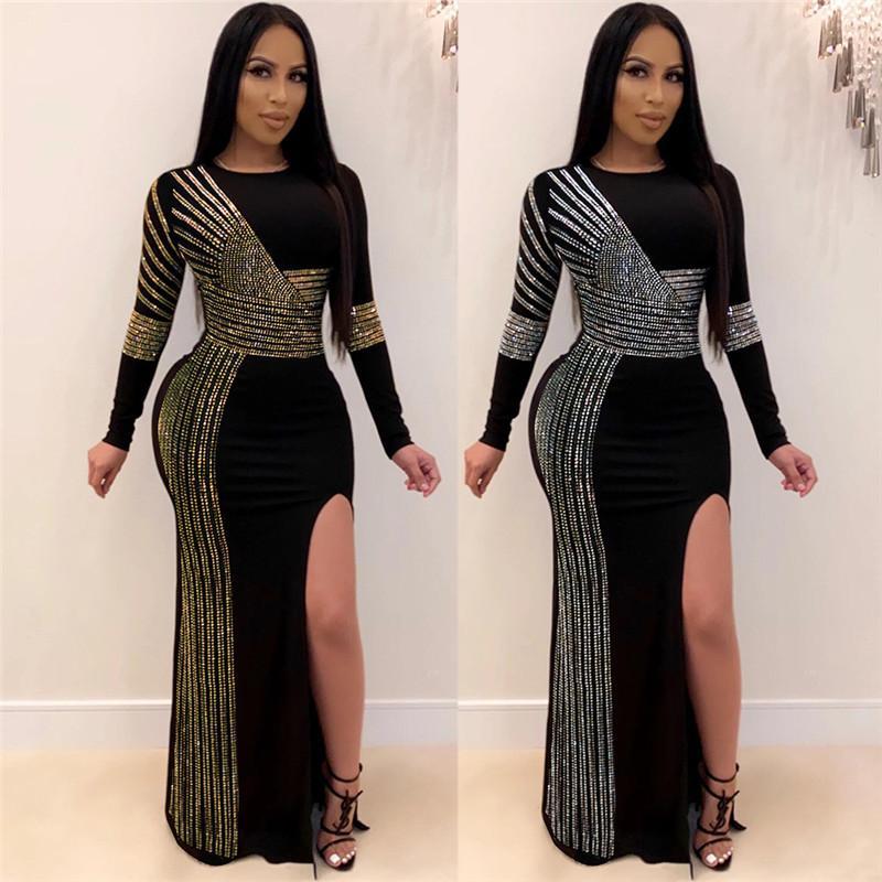 Womens Designer Dresses Sexy Hot Drill Rhinestone Crew Neck Split Long Sleeve Dress Fashion Casual Female Clothing
