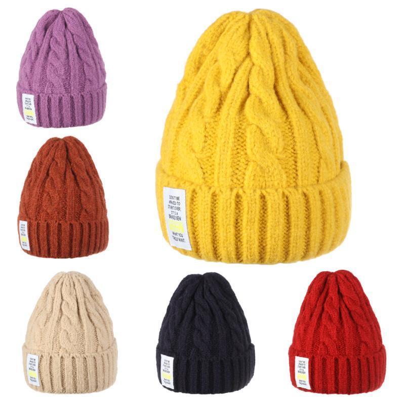 1 шт. Зимняя вязаная крышка для женщин толстые теплые мягкие шерстяные шансы шляпа все-матч сплошные кепки дамы повседневная хлопчатобумажные шляпы череп шляпа