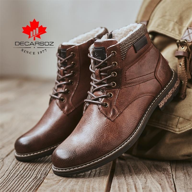 Decarsdz Yeni Erkekler Botlar Dayanıklı Eski Adam Çizmeler Marka Comfy Moda Rahat Kış Yürüyüş Çizmeler Erkek Ayakkabı Boyutu 40-45 201215