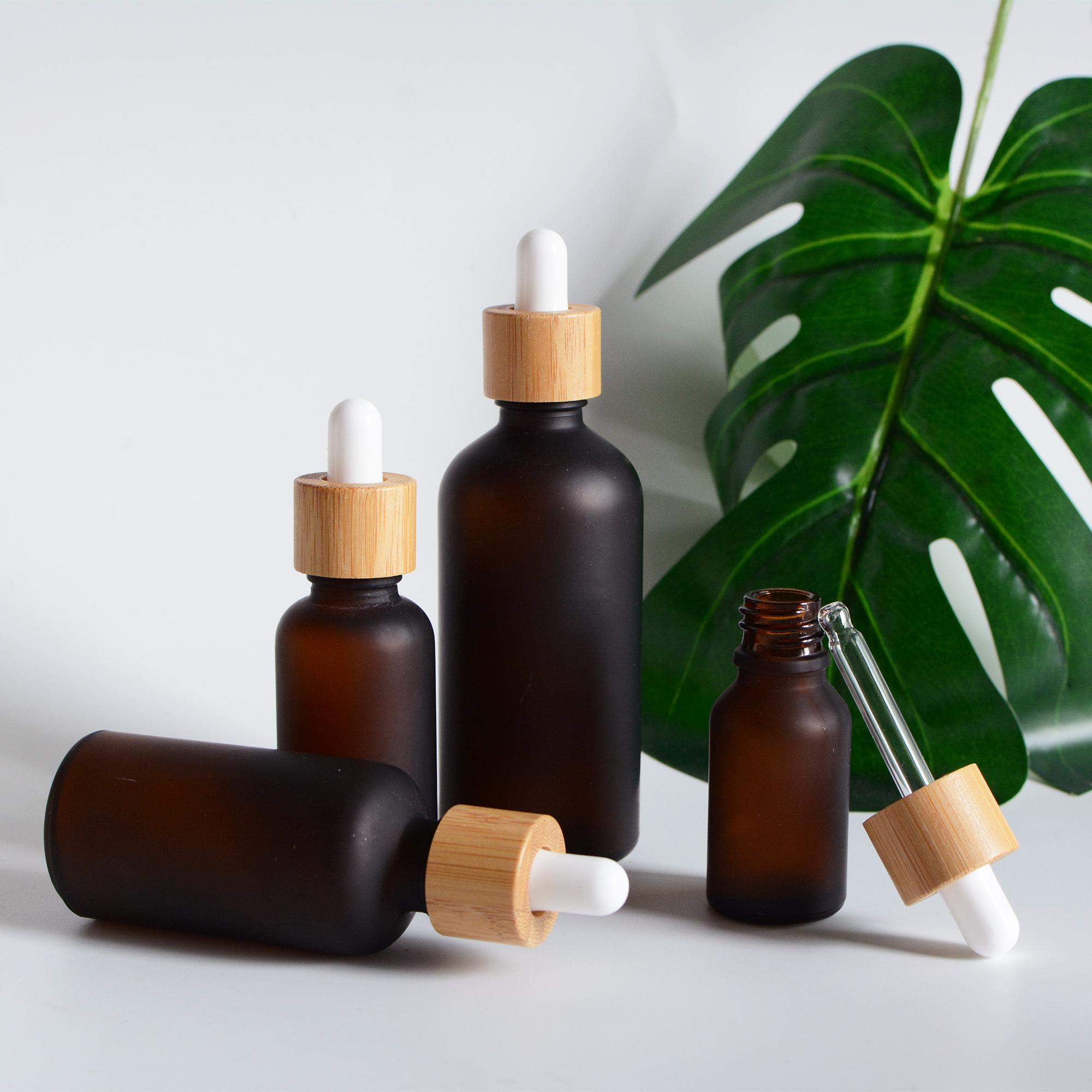 15-100 мл натуральные бамбуковые деревянные бутылки капельницы, матовые янтарные эфирные эфирные контейнеры, лечение красота косметическая упаковка, оптом