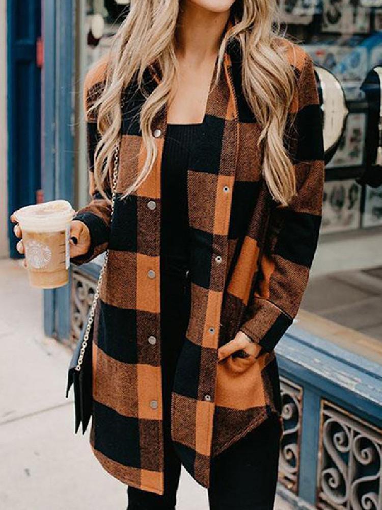 여성용 봄 격자 무늬 셔츠 재킷 패션 캐주얼 느슨한 긴 거리 여성의 방풍기 셔츠 코트