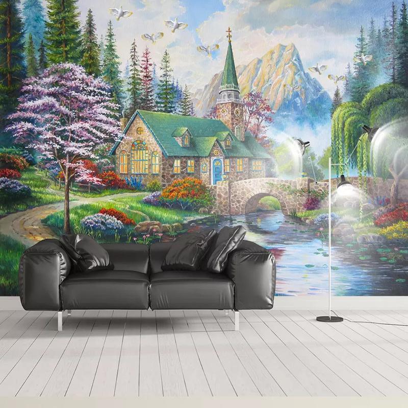 Papel de parede personalizado estilo europeu estilo 3d ponte floresta murais sala de estar tv sofá estudo fundo parede pintura decoração