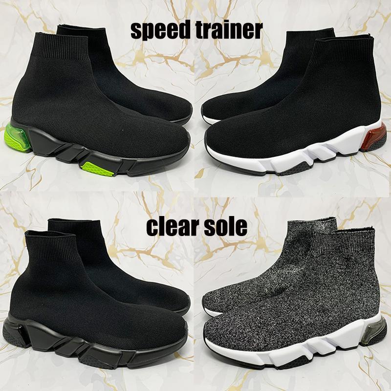 2021 Neue beste Paris Speed Trainer Klare Sohle Sneakers Gelb Fluo Burgund Triple Black Oreo Mode Männer Laufschuhe Frauen Trainer