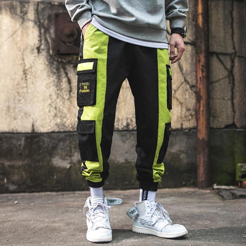 Мужские повседневные брюки грузовые брюки мода мешковатый брюк хип-хоп повседневная хлопчатобумажная мульти кармана брюки уличные брюки хомбер