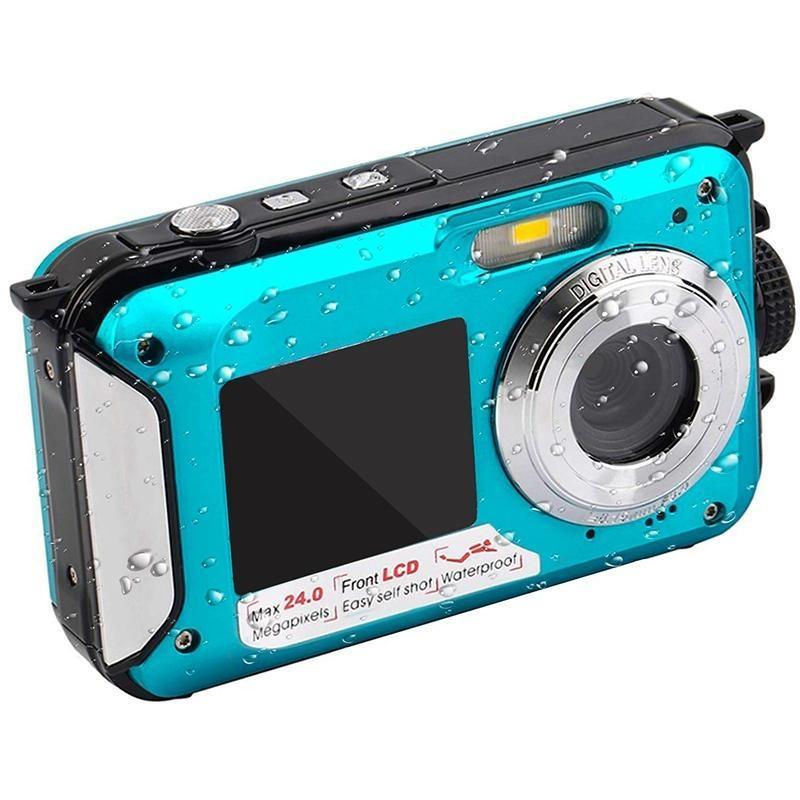 2020- 2.7 TFT Caméra étanche caméra sous-marine Full HD numérique 24 MP Enregistreur vidéo selfie double écran R25 Caméra d'enregistrement DV
