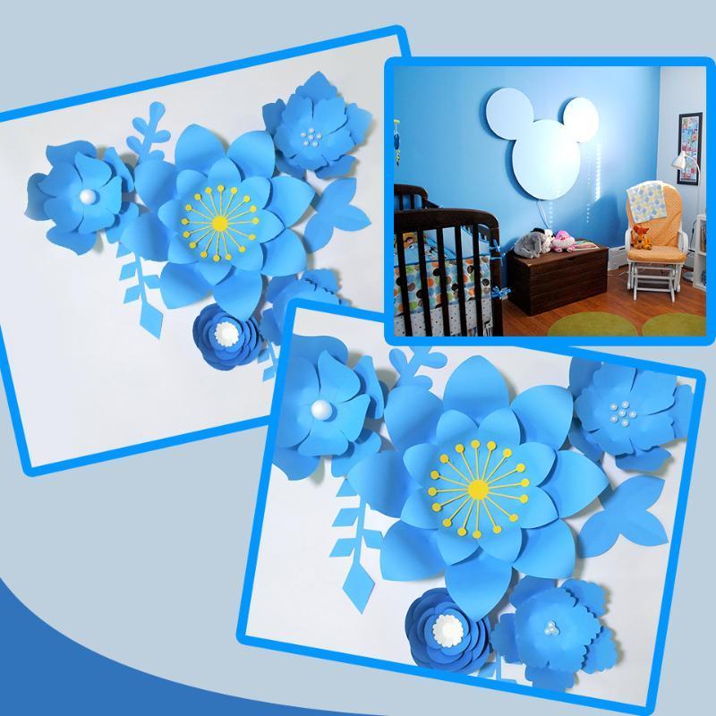 Hojas hechas a mano azules de bricolaje de bricolaje de bricolaje, hojas azules para guardería de deco deco deco, baby baby withing, telón de fondo, tutoriales de video