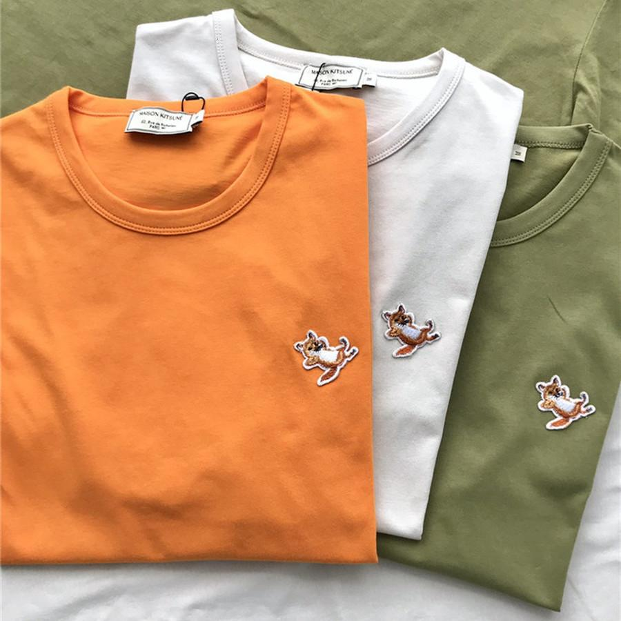 2021 New Fox Patch Bae Maison Kitsune T-shirt Men Women 1:1 Best Quality Ader Unisex Top Tees t Shirt Harajuku Anjq
