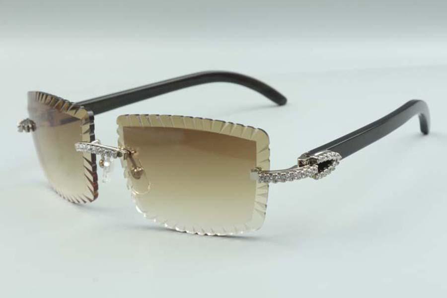 21 Newest style cutting lens luxury designer sunglasses 3524021, natural black buffalo horns medium diamonds glasses, size: 58-18-140mm