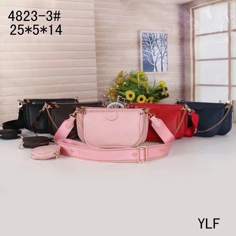 Moda Favori Çok Pochette Aksesuarları Çanta Tasarımcı Çanta 5 adet L Çiçek Desen PU Deri Tarzı Gril Çantalar Omuz Crossbody Çanta 4823-3