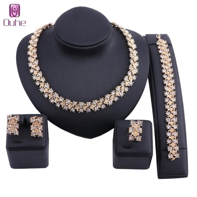 Earrings & Necklace Women Bridal Dubai Gold Color Crystal Jewelry Set Bracelet Earring Ring Nigerian Wedding Party