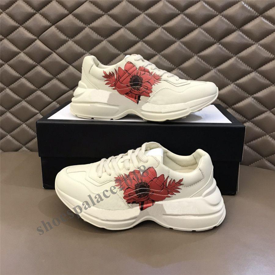 2021 Classic Mens Donne Sport all'aperto Scarpe Casual Rhyton Vintage Trainer Chaussures Sneakers retrò Do vecchio di alta qualità Camminare in pelle Tennis