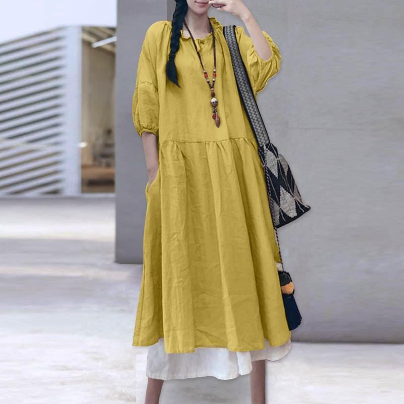 Vestido largo de verano Sundress Sundress Casual Vintage Manga larga Vestido Vestido Mujer Vestidos de lino de algodón 2021 VONDA ROBE S-5XL