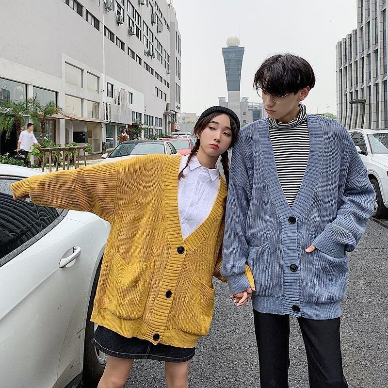 Erkek çiftin 2021 Giyim Katı Renk Hırka Homme Kazak Erkek Gevşek Palto Triko Giysileri Uzun Erkek Yün Örgü S623