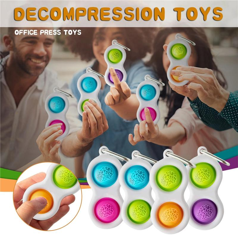 Among us Pop Bubble Keyring Fidget Sensory Toy Autism Special Needs Pops Squeeze Funny Anti-Stress Stress Reliever Toys for Baby Children