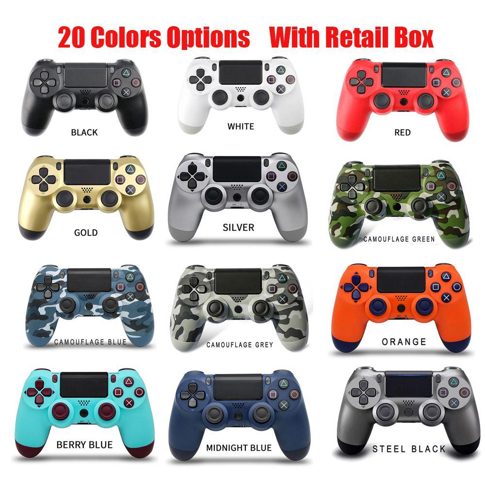 وحدة التحكم اللاسلكية بلوتوث ل PS4 الاهتزاز جويستيك Gamepad Gamepad تحكم مقبض لمحطة اللعب دون شعار مع صندوق البيع بالتجزئة