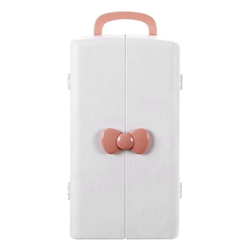 Caja de almacenamiento cosmética portátil rosa Caja de tocador para el hogar Mueble de almacenamiento de escritorio Capacidad de gran capacidad Cuidado de la piel Rack