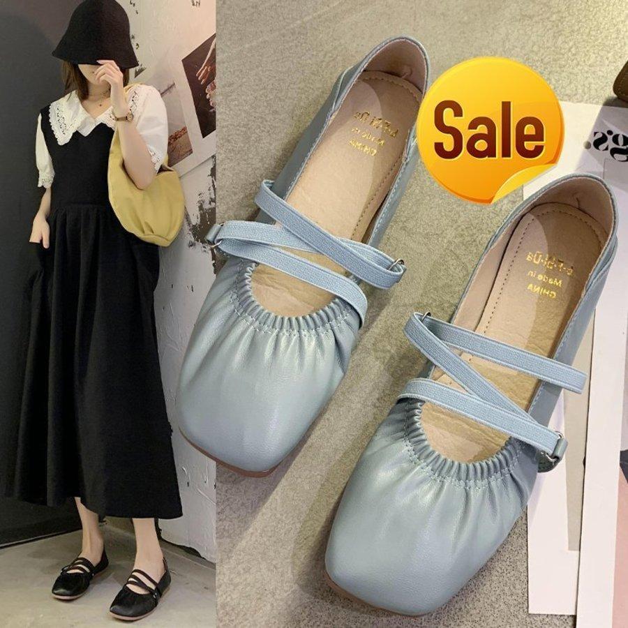 Coreia do Sul Cruz de Portão East com Soled Granny Square Head Soft Leather Temperament Fairy Ballet Sole Sapatos Var7