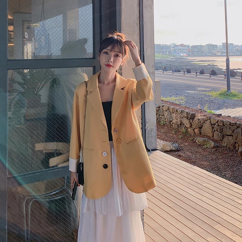 Abiti da donna Blazers Coreano 2021 Primavera Single Breasted Slosed Net Suit Rosso Cappotto Casual Cappotto di grandi dimensioni Slim