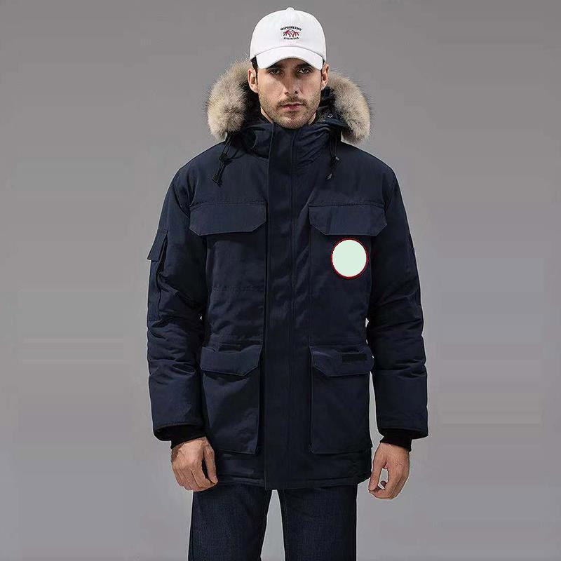 رجالي أسفل سترة الأزياء الرجعية مصمم معطف الرياضية الكشمير سماكة المستوردة YKK سستة طوق بطة بيضاء أسفل التطريز مريحة الشتاء السترات