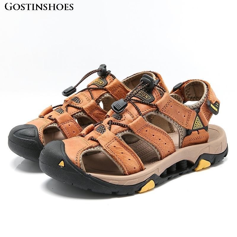 Sandalias Hakiki Deri Sandalet Büyük Boy Kapalı Toe Kalite Ayakkabı Casual Zapatos De Erkekler için Hombre Sandalet
