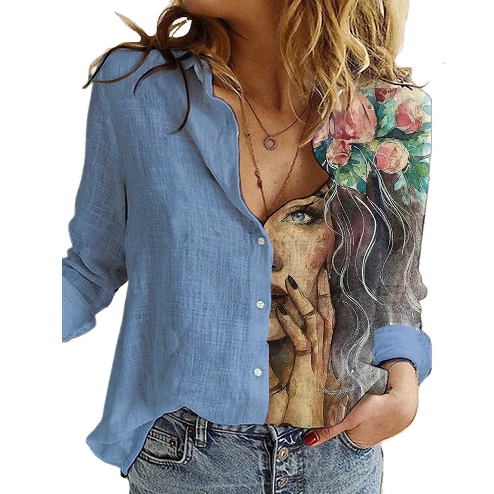 Patchwork Vintage Mujer botones Blusas Otoño Sexy Estampado Floral Tops Casual Flojo Oficina Camisa de las señoras Femme Blusa Plus Tamaño 3XL