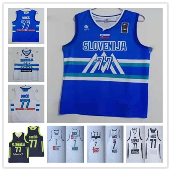 Homme 2021 Tokyo Olympics Slovénie Basketball 77 Doncic 7 Luka Slovenija Jersey Blue Blanc Blanc STICTHED Doncic Eurolgue Bleu Champion Shirt