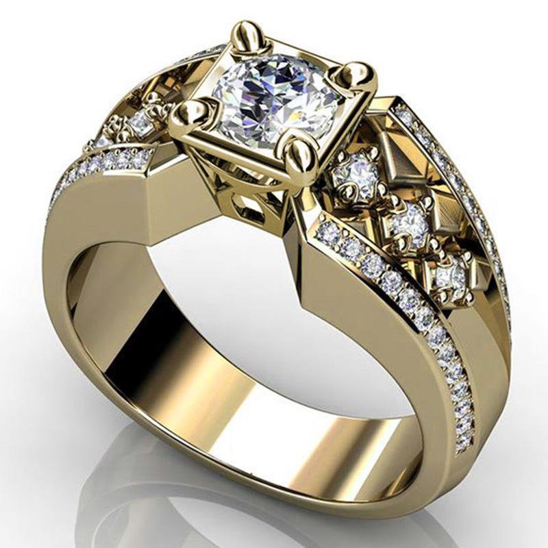 Charme ouro cor clássico punk rock hip hop anéis para homens legal brilhante masculino grande zircão pedra anel jóias z3p188