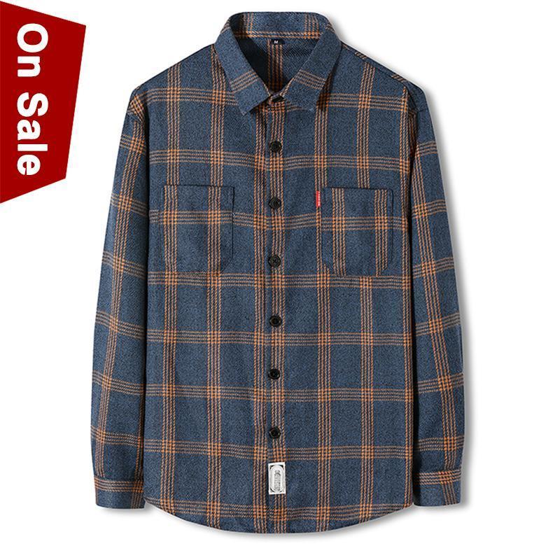Súper Calidad Camisas a cuadros Hombres Camisas para hombre casual Hombre Primavera Manga larga Brown Brown Free-Hierro Marca Ropa Adolescente Slim # S93