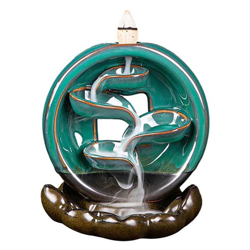 اليدوية الكلاسيكية الصينية السيراميك الحرفية الهدايا الإبداعية ديكور المنزل السلمي ارتداد البخور الموقد زين الشلال مبخرة