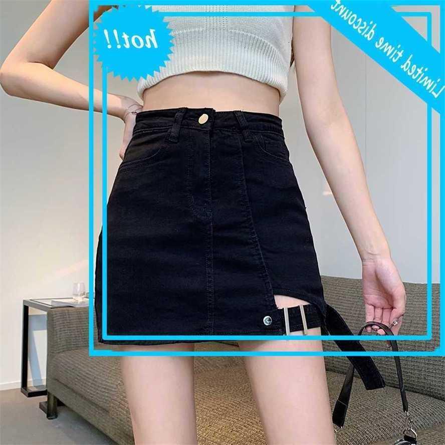 3 colores Nuevo verano Sexy alta cintura alta vendimia Denim Femlae Casual A-Line Hip Falda Mujer