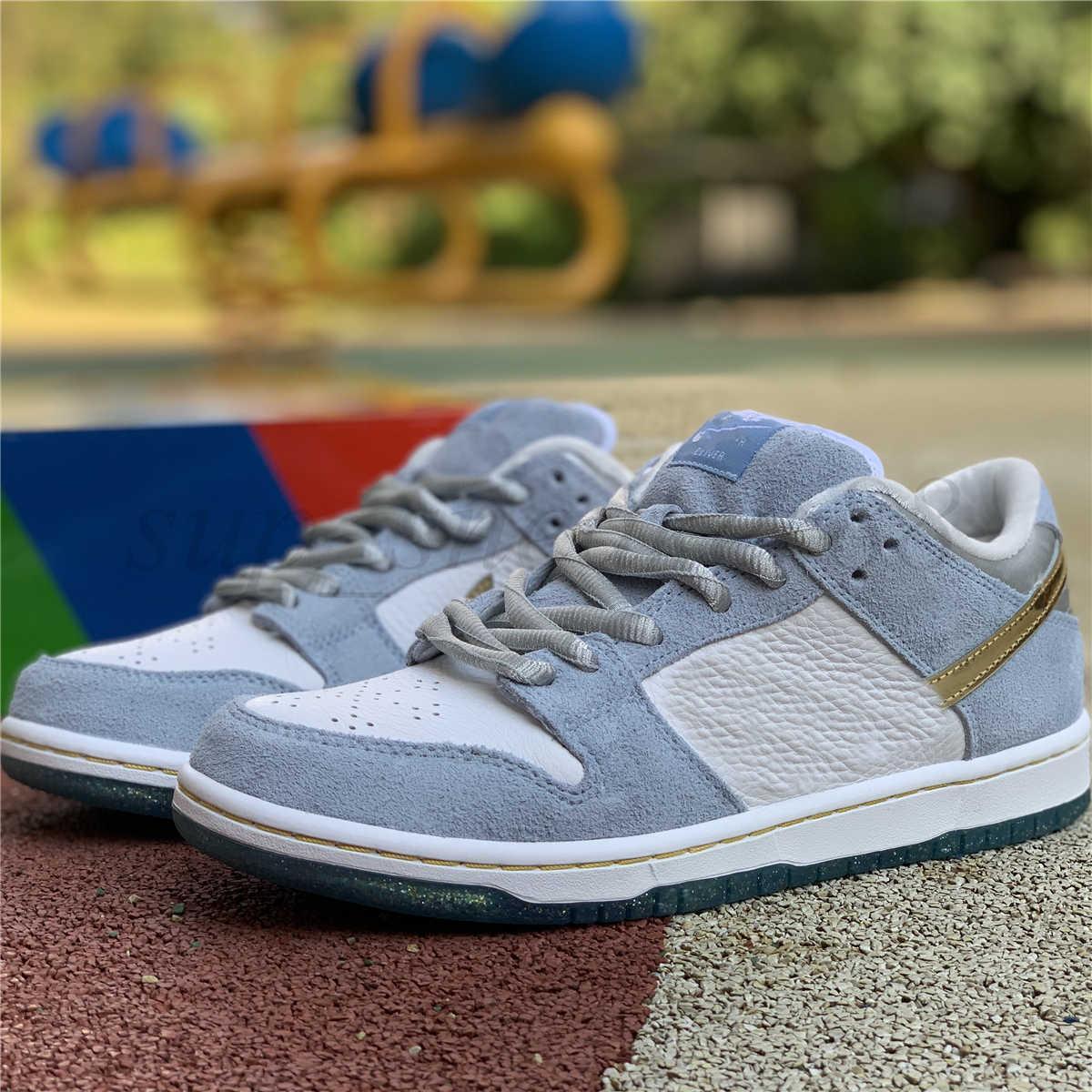 2021 Sean Cliver X Düşük Pro QS YY Tatil Özel Ayakkabı Beyaz Mavi Altın Kadın Rahat Ayakkabı Eğitmenler Sevgililer Günü Paten Kurulu Sneakers