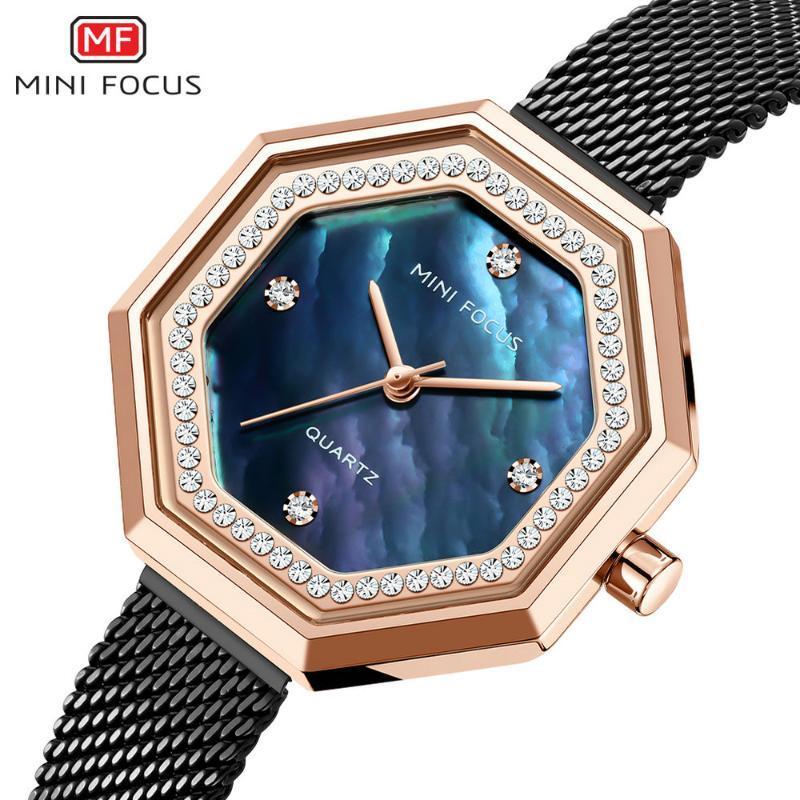 Armbanduhren Minifocus einzigartige Frauen Uhren Diamant Luxus Elegante Dame Uhr Edelstahlband Mode Quarz Analoguhr Mädchen 2021