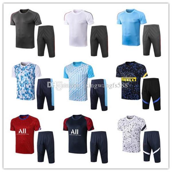 2020 2021 축구 셔츠 3/4 바지 20 21 Maillots de Football 짧은 소매 조깅 축구 훈련 정장 크기 S-XXL