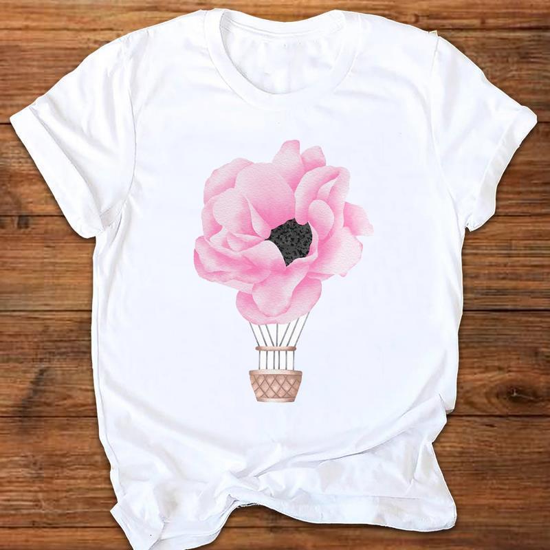 Женщины Графический Цветок Путешествия Воздушный шар Мода 90S Дамы Печать Печать Одежда Одежда Леди Tees Топы Женские Футболка Женская Футболка