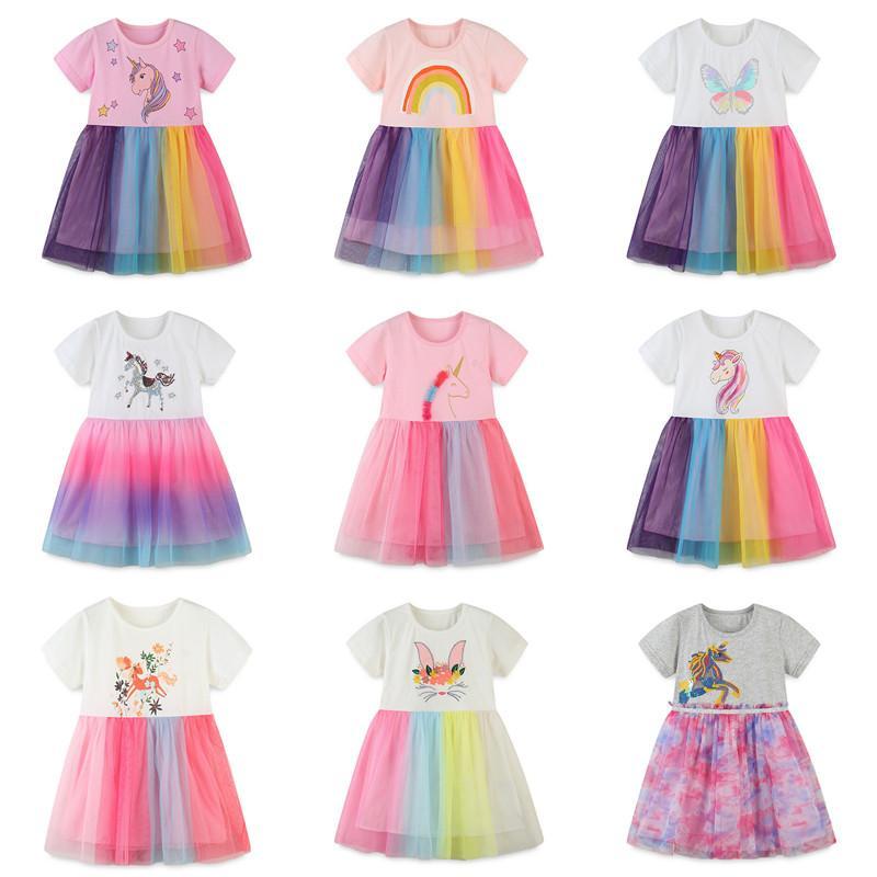 InS Baby Girl Tutu Tutu Dress Falda de niños Dibujos animados de verano Lindo Partido Elegante Fiesta de manga corta Princesa Rainbow Sequin Unicorn Lace Gauze Vestido