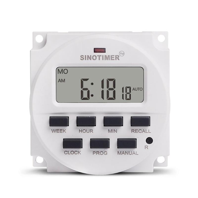 Sinotimer AC 220V hebdomadaire 7 jours Programmable Time Switch Switch Switch Relais Contrôle de la minuterie Montage sur rail DIN pour appareils électriques