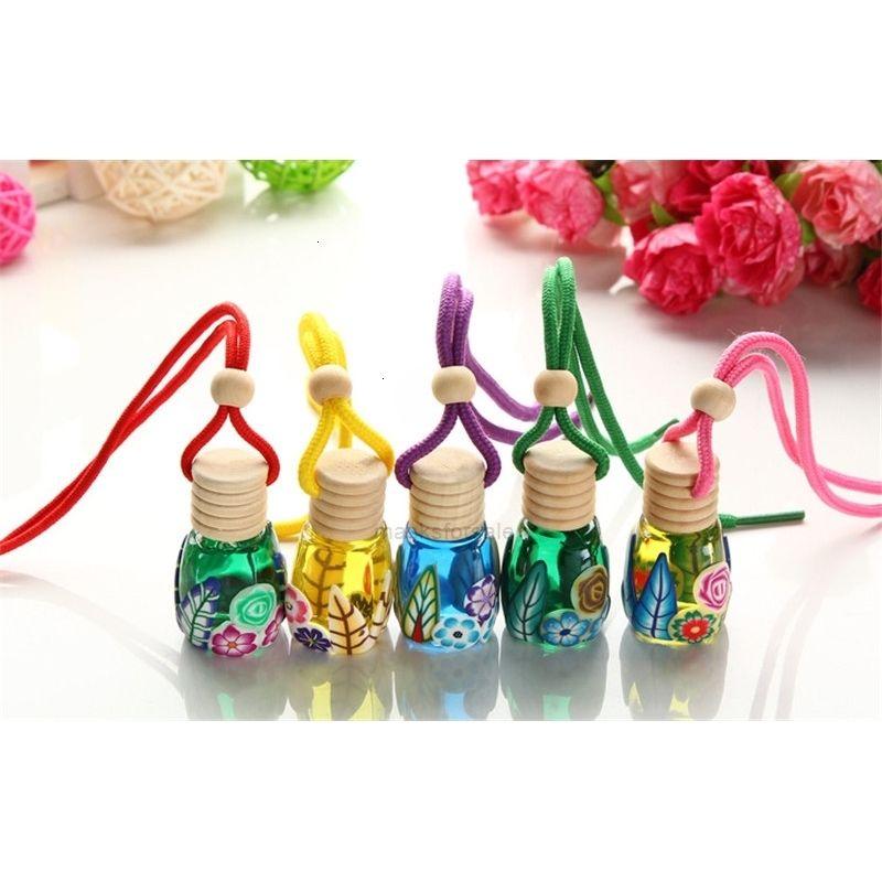 Diffuseur suspendu bouteille d'air de bouteille de verre de flacon de parfum de voiture pour voiture aromathérapie Supprimer odeur bouteille en verre vide z08g
