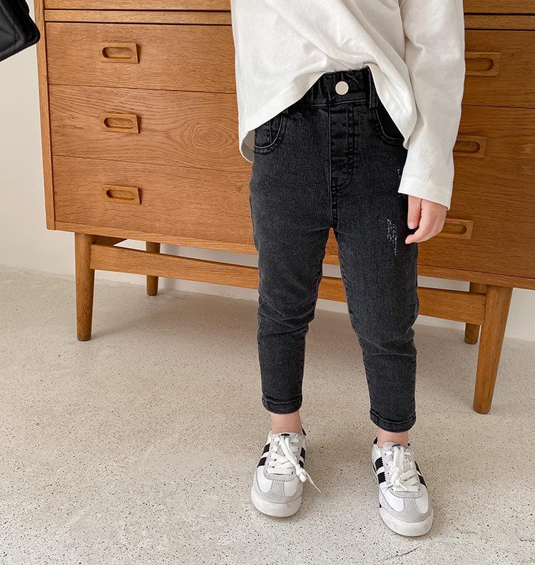 AMBB Korean Newest Spring Summer Kids Girls Jeans Denim Trousers Quality Stylish Designs Pockets Elastic Waist Autumn Children Unisex Pants