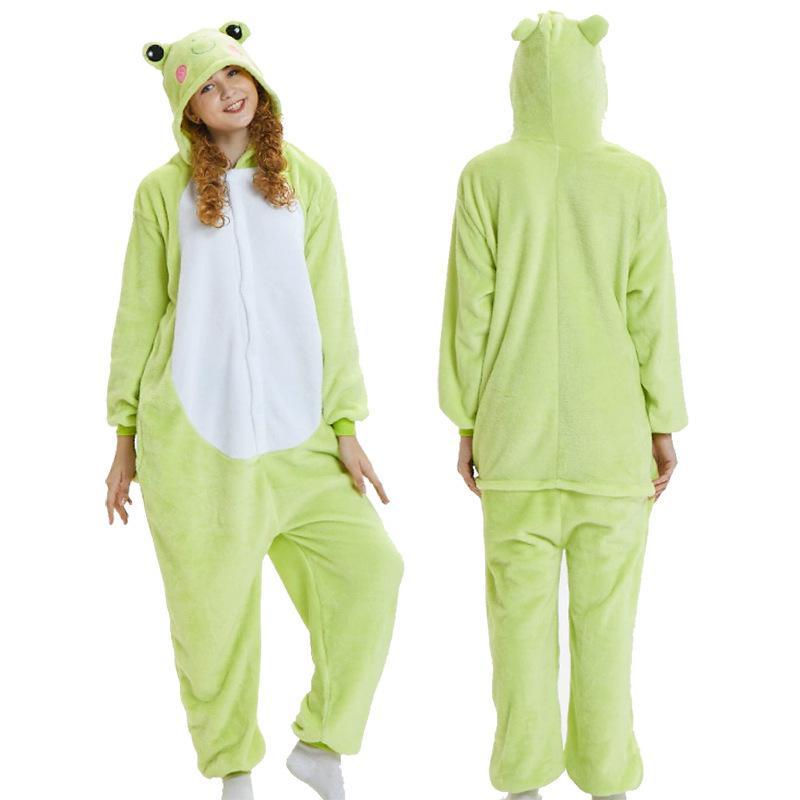 Kigurumi Frog Green Donne Pigiama Set Inverno Flanella Animale Pigiama Donne Cartoon Cosplay Cosplay Costume Costume Sleepwear L0304