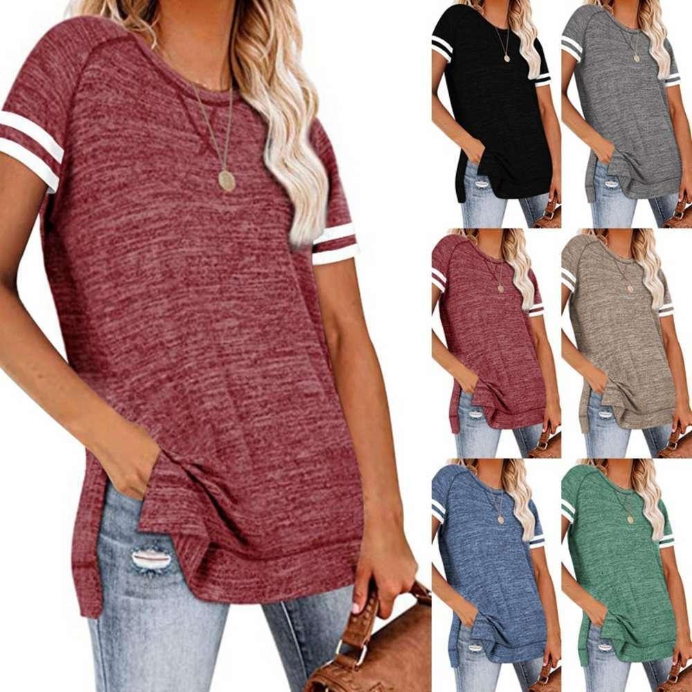 2021 Spring and Summer Femme Solid Color Colding Épicage rond Col à manches courtes T-shirts en bas de fond supérieur